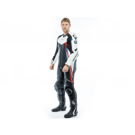 BMW DoubleR 1-piece Leather Suit (black / white / red / blue)